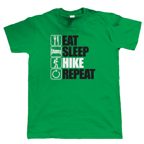 Eat Sleep Hike Repeat, Mens Walking T Shirt