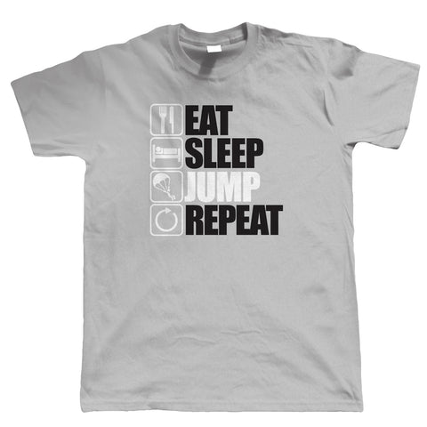 Eat Sleep Jump Repeat, Mens Parachuting T Shirt