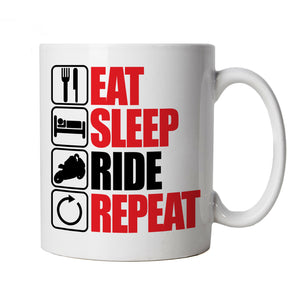 Eat Sleep Ride Repeat, Mens Funny Biker Mug | Motorbike Enthusiast Motorcycle Club Chopper Cafe Racer Superbike Gentleman Biker | Cool Birthday Christmas Cup Present Him Dad Husband Son