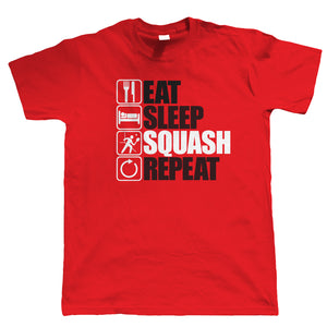 Eat Sleep Squash Repeat, Mens Funny, Sporting T Shirt