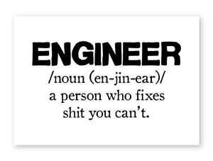 Engineer Funny Framed Poster Wall Art Man Cave Garage Workshop Gift for Him Dad