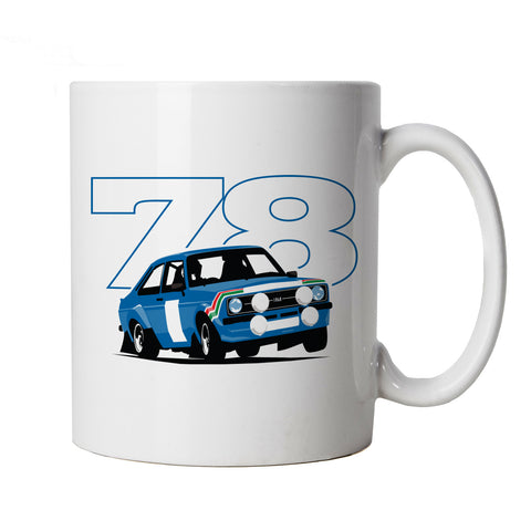 Mk2 Escort RS 78 Rally, Car Mug - Gift for Him Her, Fathers Mothers Day Birthday
