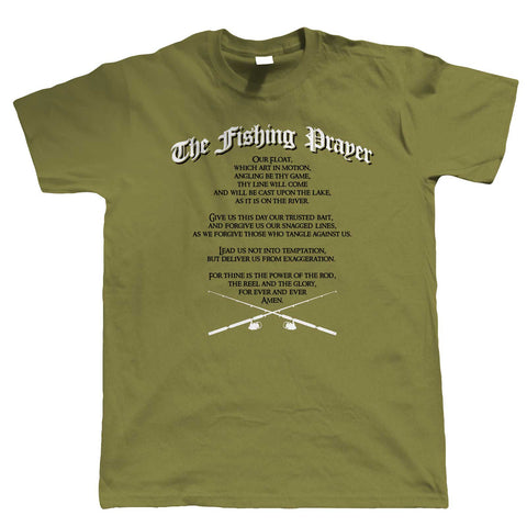 The Fishing Prayer, Mens Funny T Shirt | Coarse Carp Sea Match Fly Specimen Tackle Fishermen Clothing Angling Angler | Cool Birthday Christmas Gift Present Him Dad Husband Son