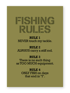 Fishing Rules, Funny Quality Framed Print - Kitchen Bathroom Man Cave Art