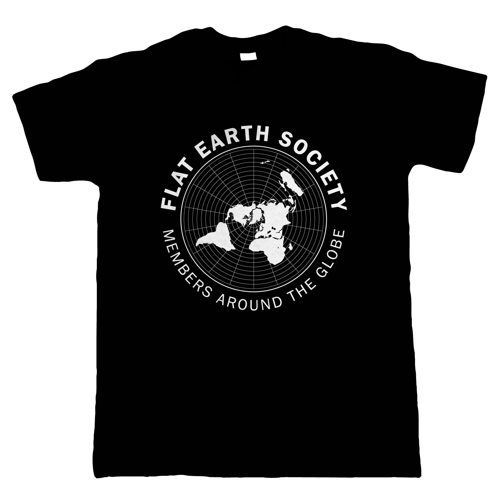 Flat Earth Society, Mens T Shirt  | Funny Theory NASA Dark Energy Earthers Round Globe Universal Disc Bedford Level Experiment Whirlpool Believer Behind The Curve TV Show | Gift Him