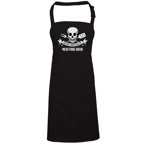 Natural Born Griller Funny BBQ Apron, Fathers Day Birthday Gift Barbecue Smoker - vectorbomb
