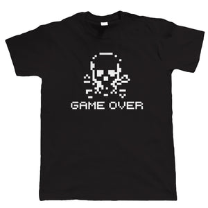 Game Over Retro Skull and Crossbones, Funny Mens Tshirt
