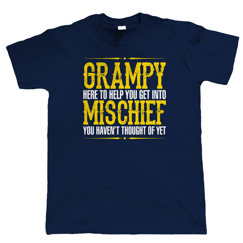 Grampy Mischief Mens Funny T-Shirt - Birthday Fathers Day Gift for Grandad | Father Gramps Son Brother Uncle | Humour Laughter Sarcasm Jokes Messing Comedy | Funny Him Birthday