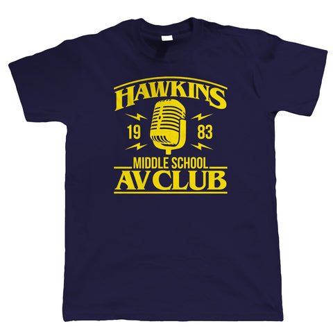 Hawkins Middle School AV Club Mens T-Shirts | Action Adventure Horror Sci-Fi Series Binge Halloween | Upside Down DND 80s Small Town Summer | TV & Movie Gift Him