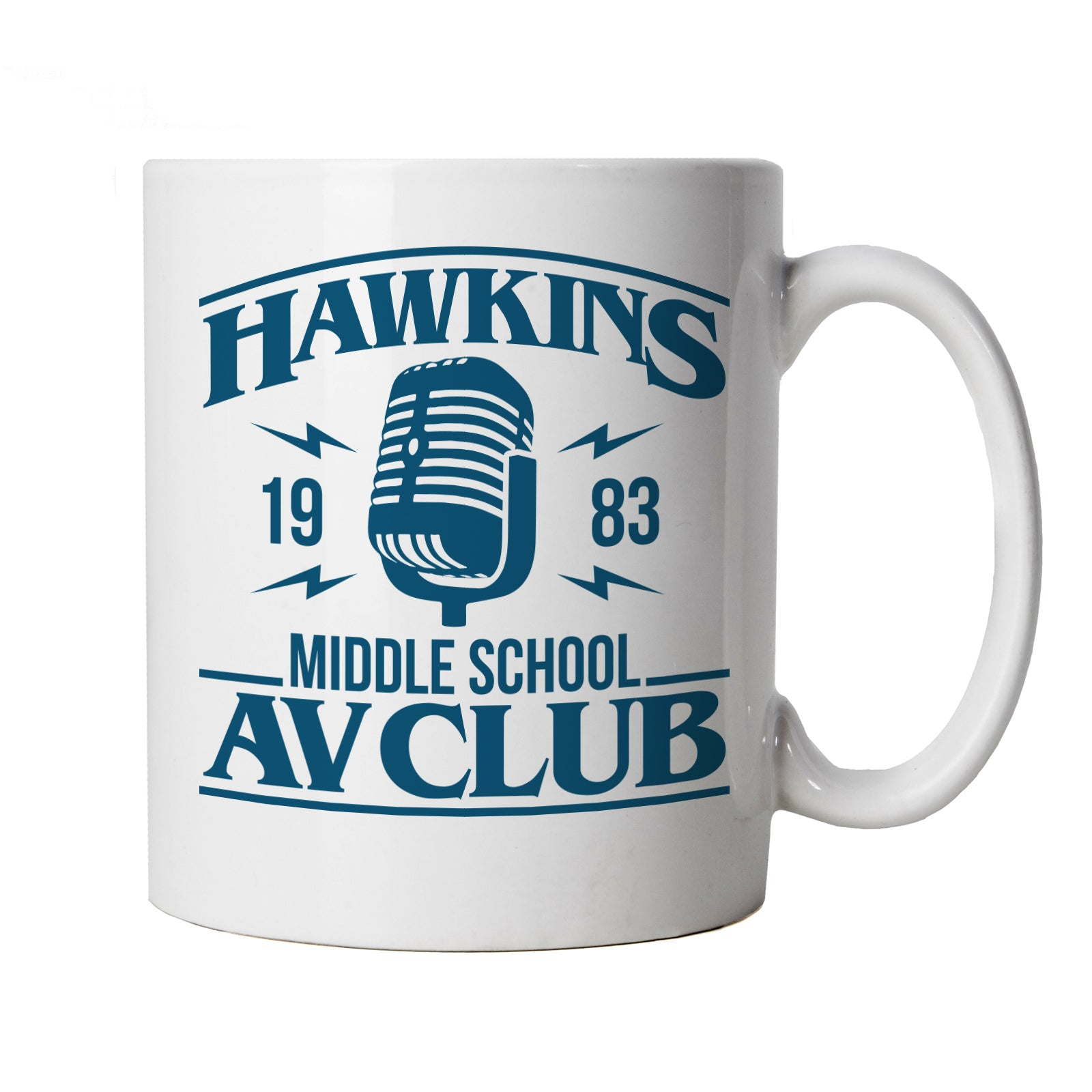Hawkins Middle School AV Club Mug | Action Adventure Horror Sci-Fi Series Binge Halloween | Upside Down DND 80s Small Town Summer | TV & Movie Cup Gift