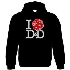 I Love D&D Hoodie | Dungeons Dragon D&D DND Pathfinder 3.5 Tarrasque | Crimson Throne Polyhedral D20 Fifth 5th Edition | Geek Gift Him Her Birthday