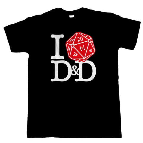 I Love D&D Mens T-Shirt | Dungeons Dragon D&D DND Pathfinder 3.5 Tarrasque | Crimson Throne Polyhedral D20 Fifth 5th Edition | Geek Gift Him Dad