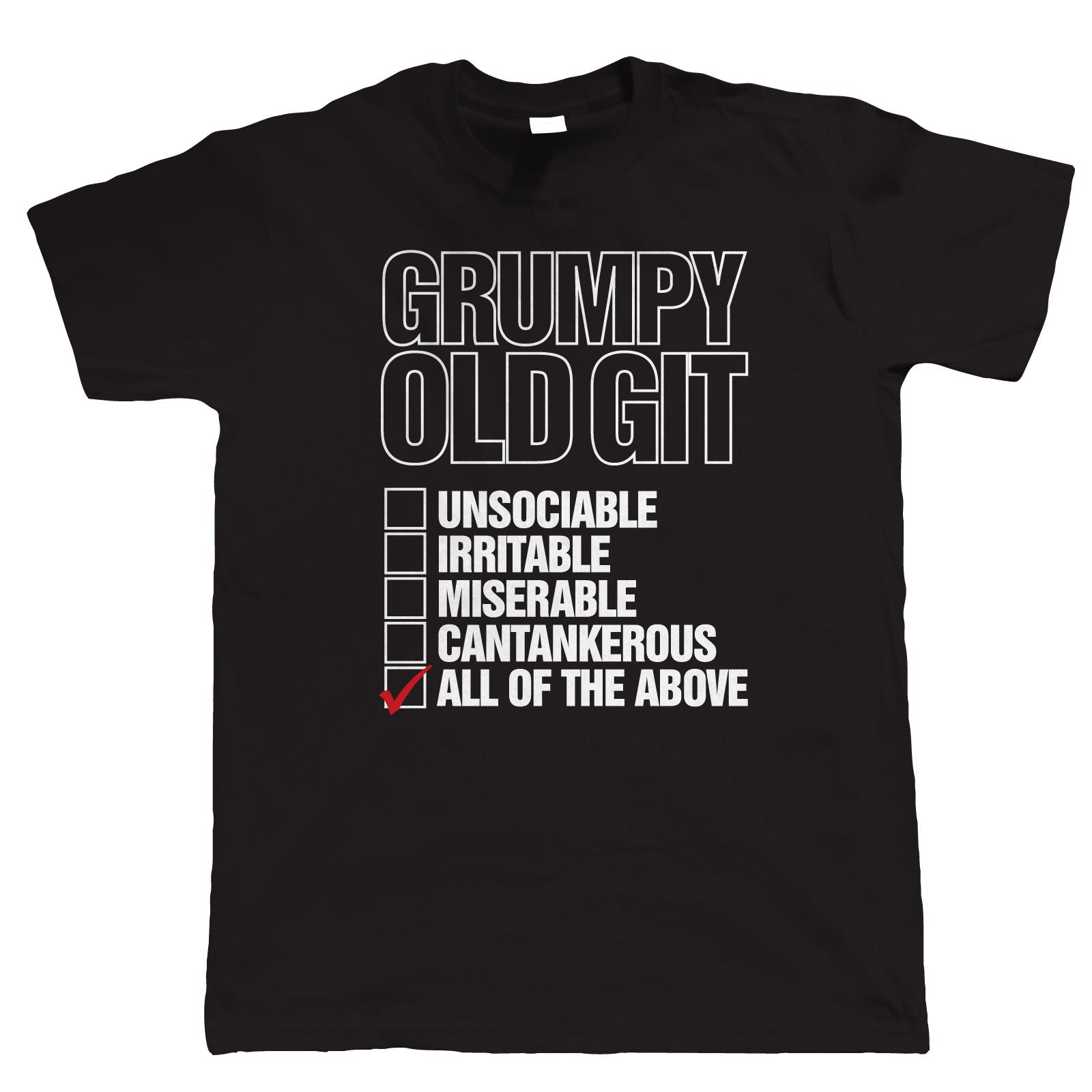 Grumpy Old Git Checklist, Mens Funny T Shirt