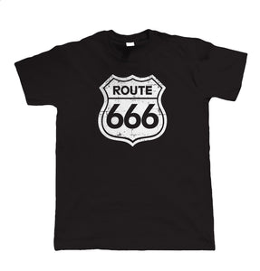 Route 666, Mens Funny Biker T Shirt | Motorbike Enthusiast Vintage Classic Motorcycle Club Chopper Cafe Racer Superbike Gentleman Biker | Cool Birthday Christmas Gift Present Him Dad Husband Son