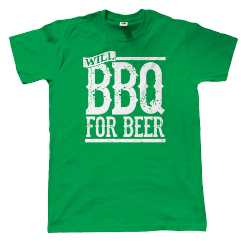 Will BBQ For Beer, Mens Funny Grilling T Shirt