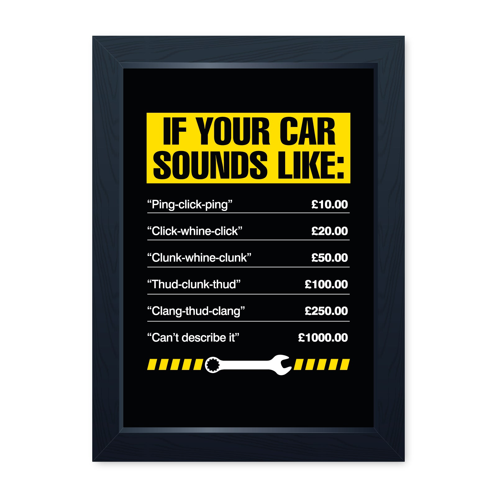 If Your Car Sounds Like, Funny Framed Print - Home Decor Kitchen Bathroom Man Cave Shed Garage Wall Art