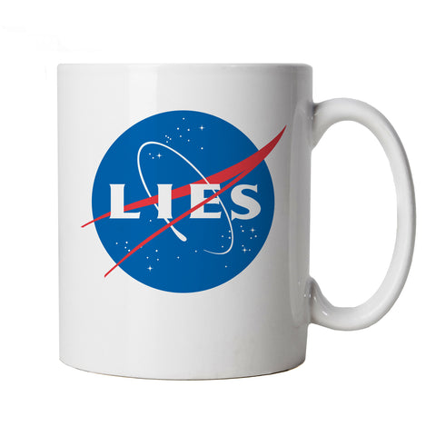 Lies, Mug | Flat Earth Society Funny Theory NASA Dark Energy Round Earther Globe Universal Disc Bedford Level Experiment Whirlpool Believer Behind The Curve TV Show | Gift Him Dad Her Mum