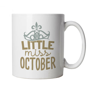 Little Miss October Mug | Happy Birthday Celebration Party Getting Older | Age Related Year Birthday Novelty Gift Present | Birthday Cup Gift