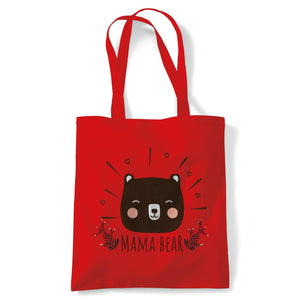 Mama Bear Sweet Cute Tote | Reusable Shopping Cotton Canvas Long Handled Natural Shopper Eco-Friendly Fashion | Gym Book Bag Birthday Present Gift Her | Multiple Colours Available