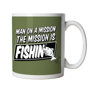 Man On A Mission, Funny Fishing Mug | Coarse Carp Sea Match Fly Specimen Tackle Fishermen Clothing Angling Angler | Cool Birthday Christmas Gift Present Him Dad Husband Son