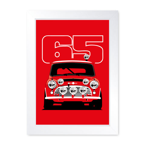 Cooper S Rally Car 1965, Quality Framed Print - Home Decor Kitchen Bathroom Man Cave Wall Art