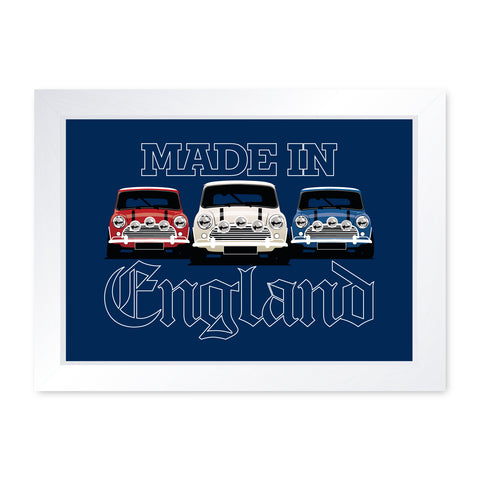 Made In England Classic Car, Quality Framed Print - Home Decor Kitchen Bathroom Man Cave Wall Art