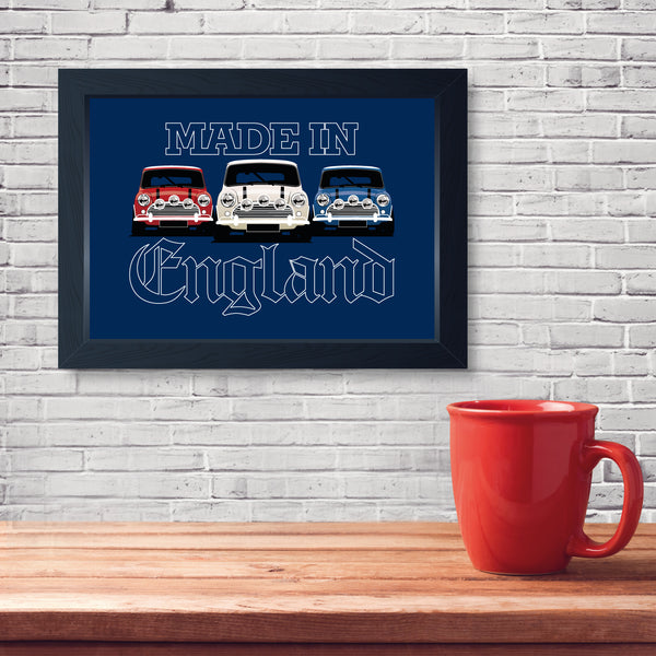 Made In England, Framed Or Frameless Poster Print - Classic Car Wall Art Gift