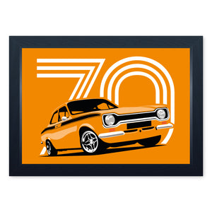 Orange Mk1 Escort Mexico, Quality Framed Print - Kitchen Bathroom Man Cave Art