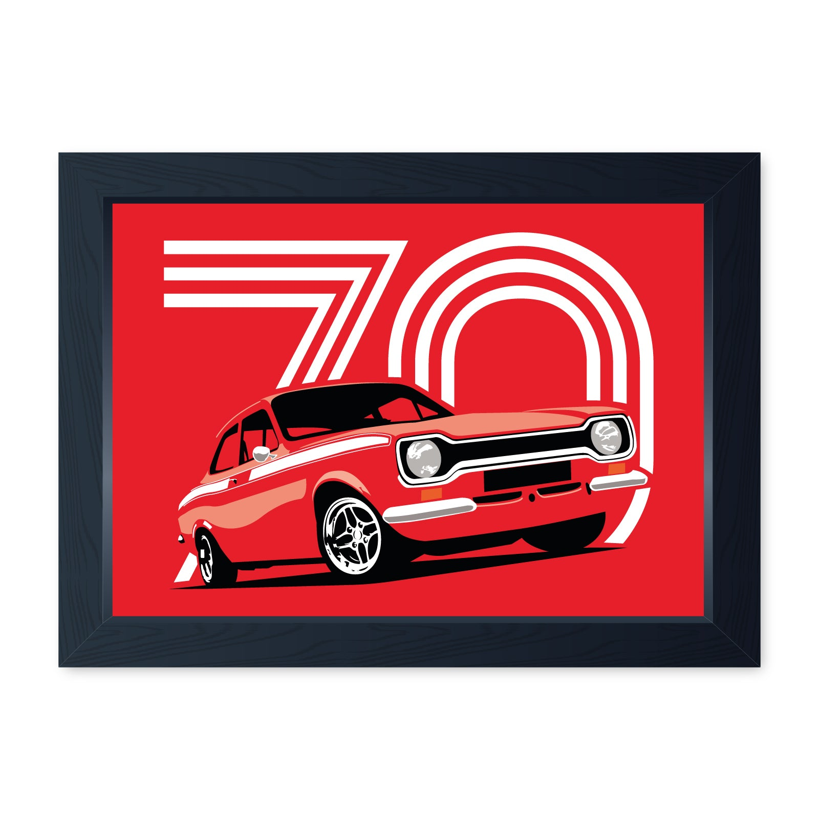 Red Mk1 Escort Mexico, Quality Framed Print - Kitchen Bathroom Man Cave Art