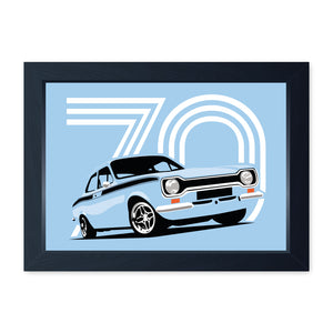 Olympic Sky Blue Mk1 Escort Mexico, Quality Framed Print - Kitchen Bathroom Man Cave Art