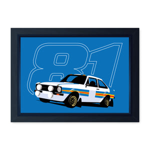 Mk2 Escort Group 4 RS1800 Rally Car 81, Quality Framed Print - Home Decor Kitchen Bathroom Man Cave Wall Art