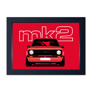 Red Mk2 Escort, Framed Or Frameless Poster Print - Classic Car Wall Art Gift