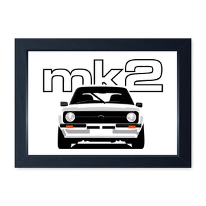 White Mk2 Escort, Framed Or Frameless Poster Print - Classic Car Wall Art Gift