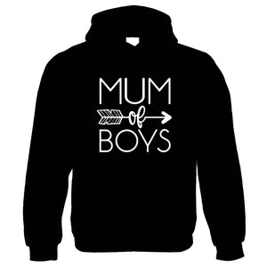 Mum of Boys Arrow Hoodie | Mothers Day Best Mum Top Parent Family Mumlife Slugs Snails Grubby Boys Mess Cowboys Indians | Birthday Christmas Gift Present Her Wife Mother Partner Fiance Sister