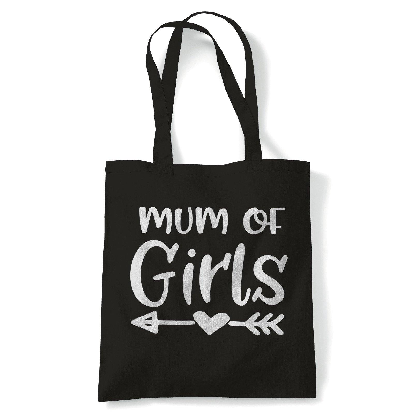 Mum of Girls Arrow Heart Tote | Reusable Shopping Cotton Canvas Long Handled Natural Shopper Eco-Friendly Fashion | Gym Book Bag Birthday Present Gift Her | Multiple Colours Available