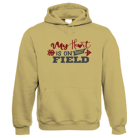 My Heart Is On That Field, Womens Funny Hoodie | Football Mum Humour Novelty Perfect Gift Present For Mum Mama Ladies | Mothers Day Birthday Christmas from Daughter Son Grandson