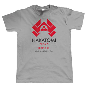Nakatomi Plaza, Mens T Shirt | 80s Action Movie Blockbuster Inspired Yippee Ki-yay John McClane Hans Gruber | Cool Birthday 1988 Christmas Gift Present Him Dad Husband Classic Retro Film Fan