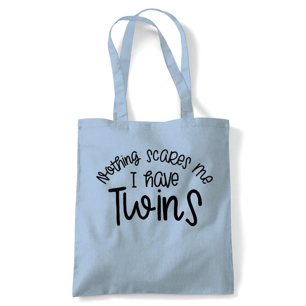 Nothing Scares Me I Have Twins Tote | Reusable Shopping Cotton Canvas Long Handled Natural Shopper Eco-Friendly Fashion | Gym Book Bag Birthday Present Gift Her | Multiple Colours Available