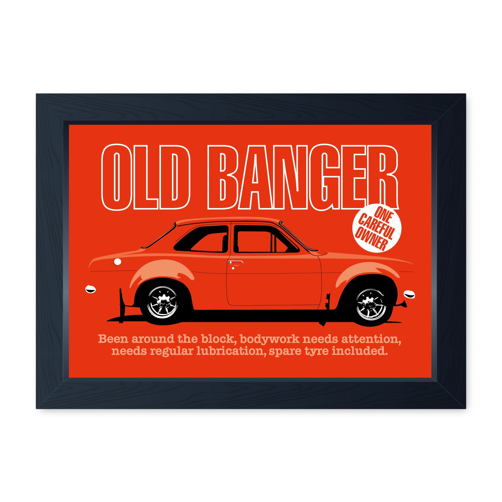 Old Banger Mk1 Escort, Funny Framed Print - Home Decor Garage Shed Man Cave Wall Art