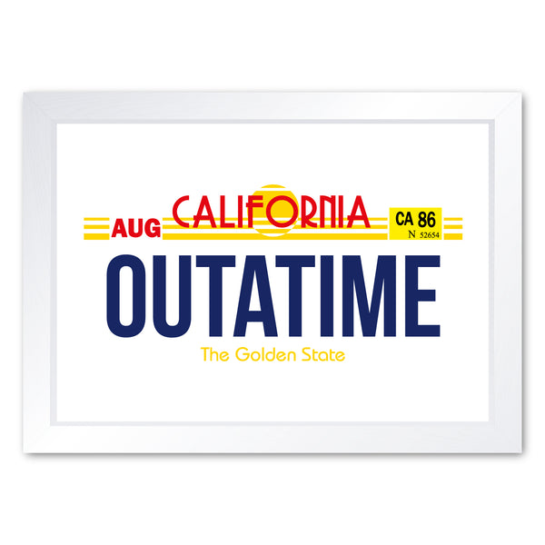 Outatime Number Plate Back To The Future Inspired, Framed Or Frameless Art Print