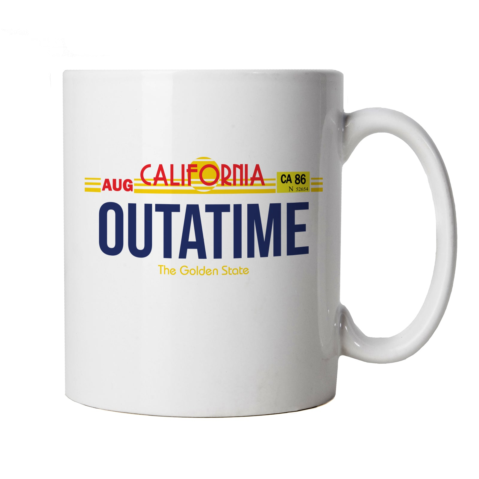 Outatime Movie Inspired, Mug | Marty McFly Back To The Future Number Plate | Time Travel Sci-Fi Delorean Doc Brown DMC | Sci-Fi TV & Movie Cup Gift