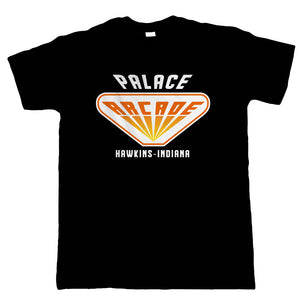 Palace Arcade Mens T-Shirt | Action Adventure Horror Sci-Fi TV Series Binge Halloween Gaming Old Skool | Upside Down DND 80s Small Town Summer | Geek Gift Him