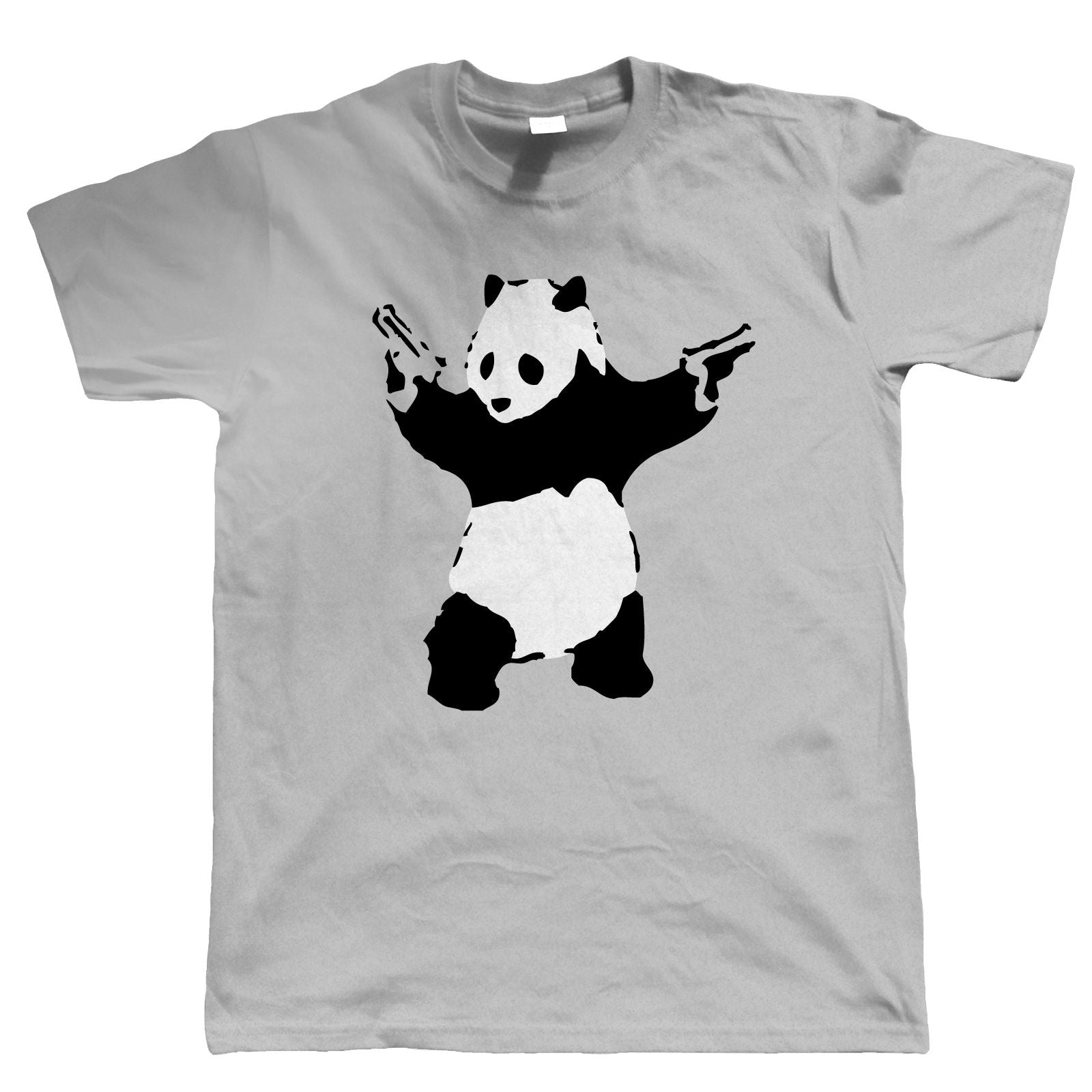 Banksy Panda With Guns Mens T Shirt |  Urban Art Graffiti Street Art