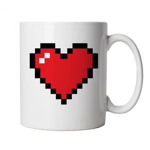 Pixel Heart Mug | Gamer Graphics Console PC Shooter RPG Free Roam | Valentines Day Husband Wife Boyfriend Girlfriend | Gaming Retro Valentines Cup Gift