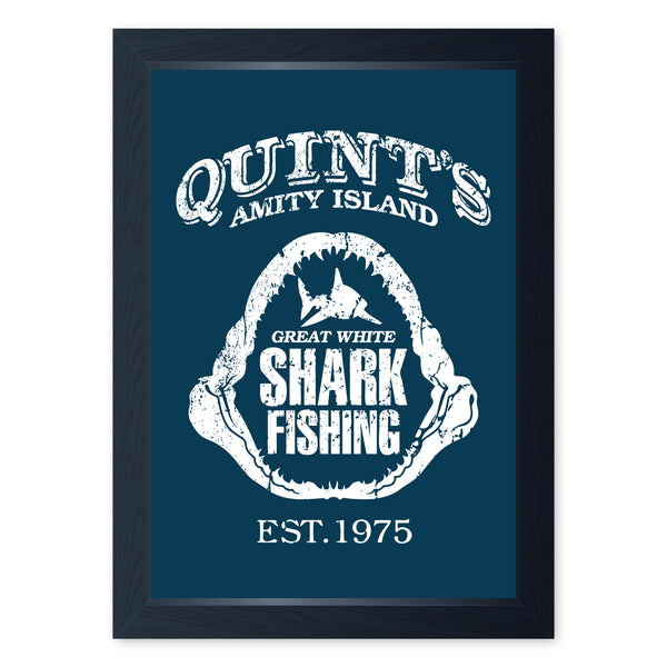 Quints Shark Fishing, Framed Or Frameless Poster Print - Jaws Inspired Art Gift