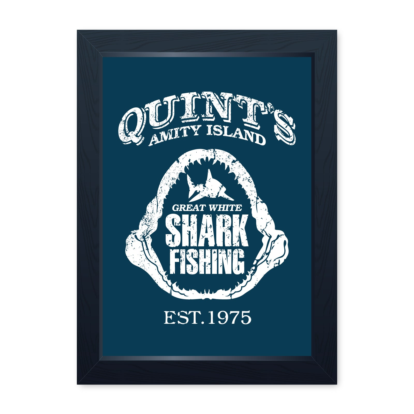 Quints Shark Fishing, Movie Inspired Framed Print - Home Decor Kitchen Bathroom Man Cave Wall Art