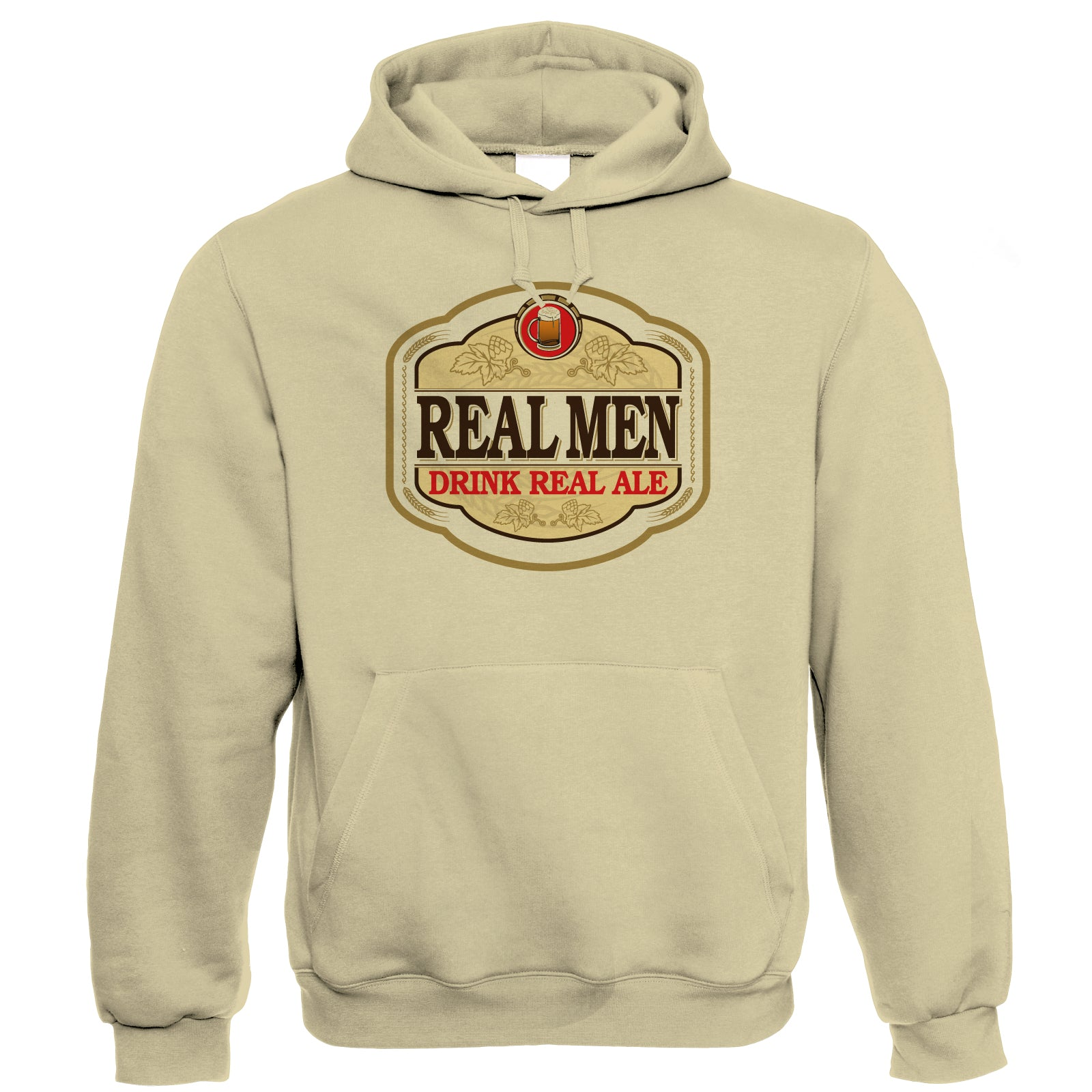 Real Men Drink Real Ale Hoodie | Beer Ale Brewing Distillery Hops Tap Pint Mild | Drink Beer Wine Cheers Celebrate Tipple Snifter | Drinking Gift Him Her Birthday