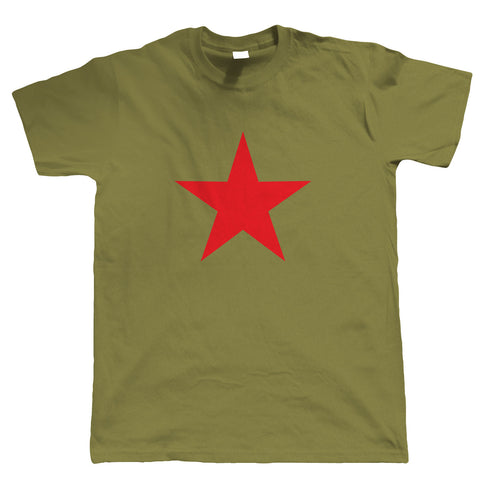 Red Star Retro Mens T Shirt | Communist Socialist USSR Che Guevara Cuban Revolution | Icon Motorcycle Diaries Castro Fidel Buenos Aires Marxist Guerilla | Pop Culture Gift Him Dad