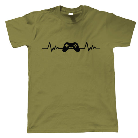 Retro Gaming Gamepad and Heartbeat, Mens T Shirt