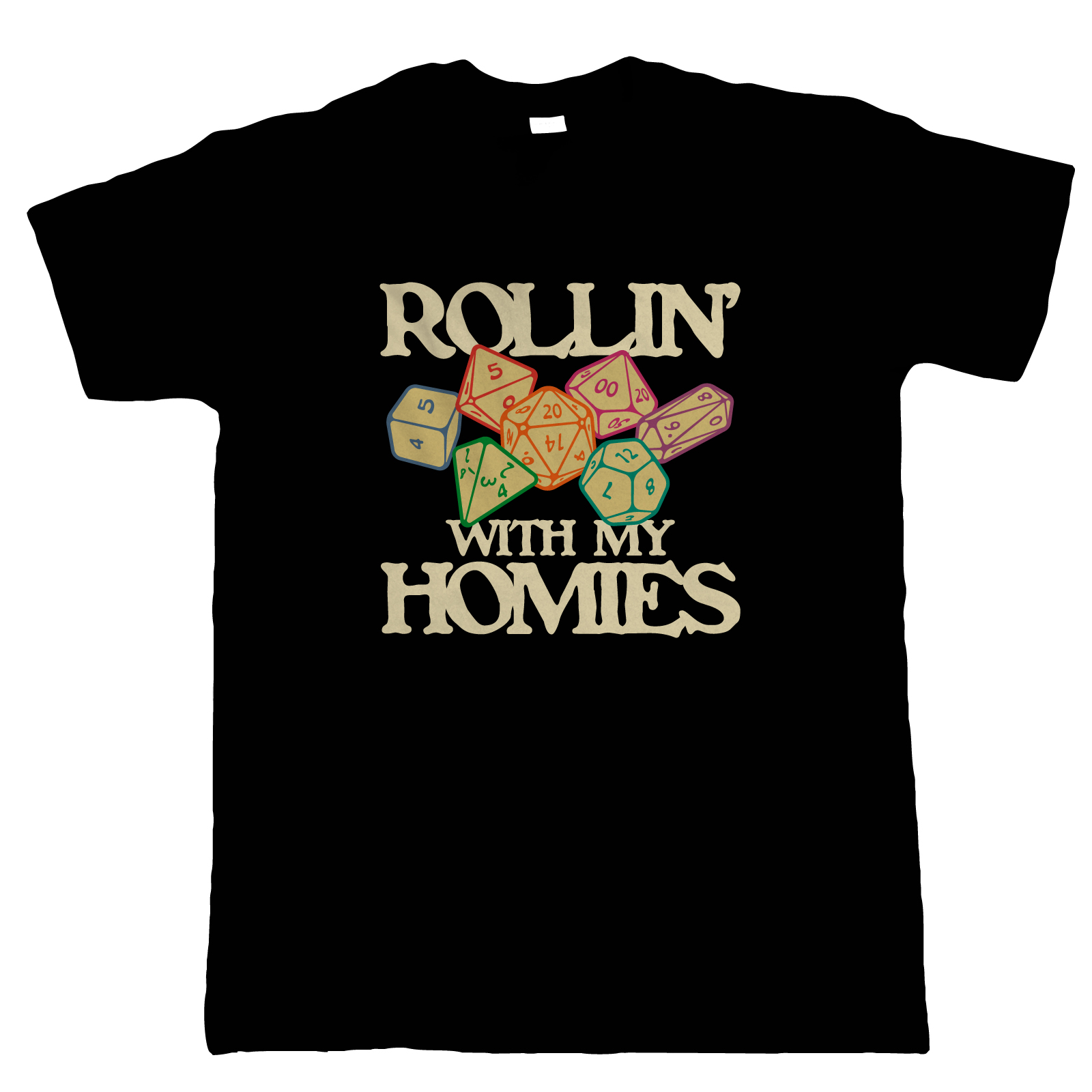 Rollin With My Homies Mens T-Shirt | Paladin Kingmaker Rogues Knight Tower Shield Magic | Dungeons Dragon D&D DND Pathfinder 3.5 Tarrasque | Geek Gift Him Dad